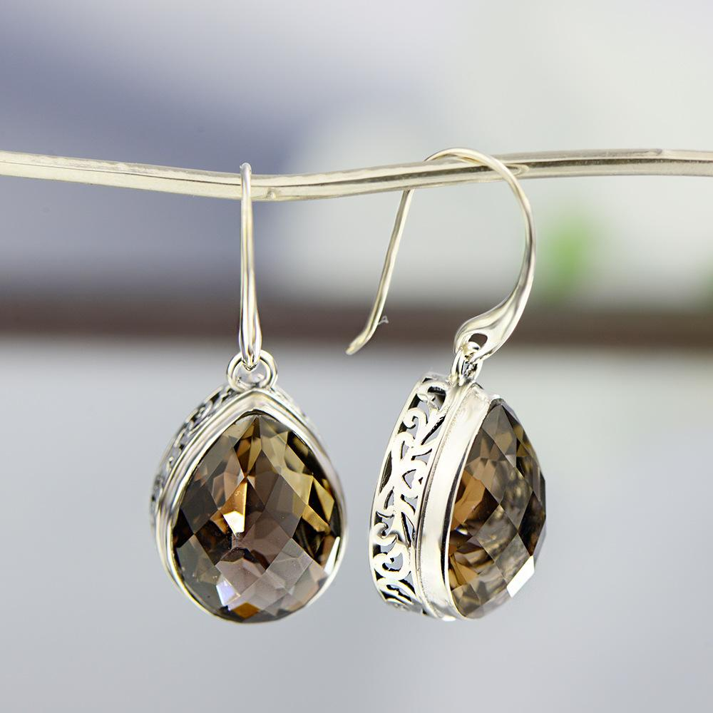 Vintage Tawny Crystal Drop Earrings
