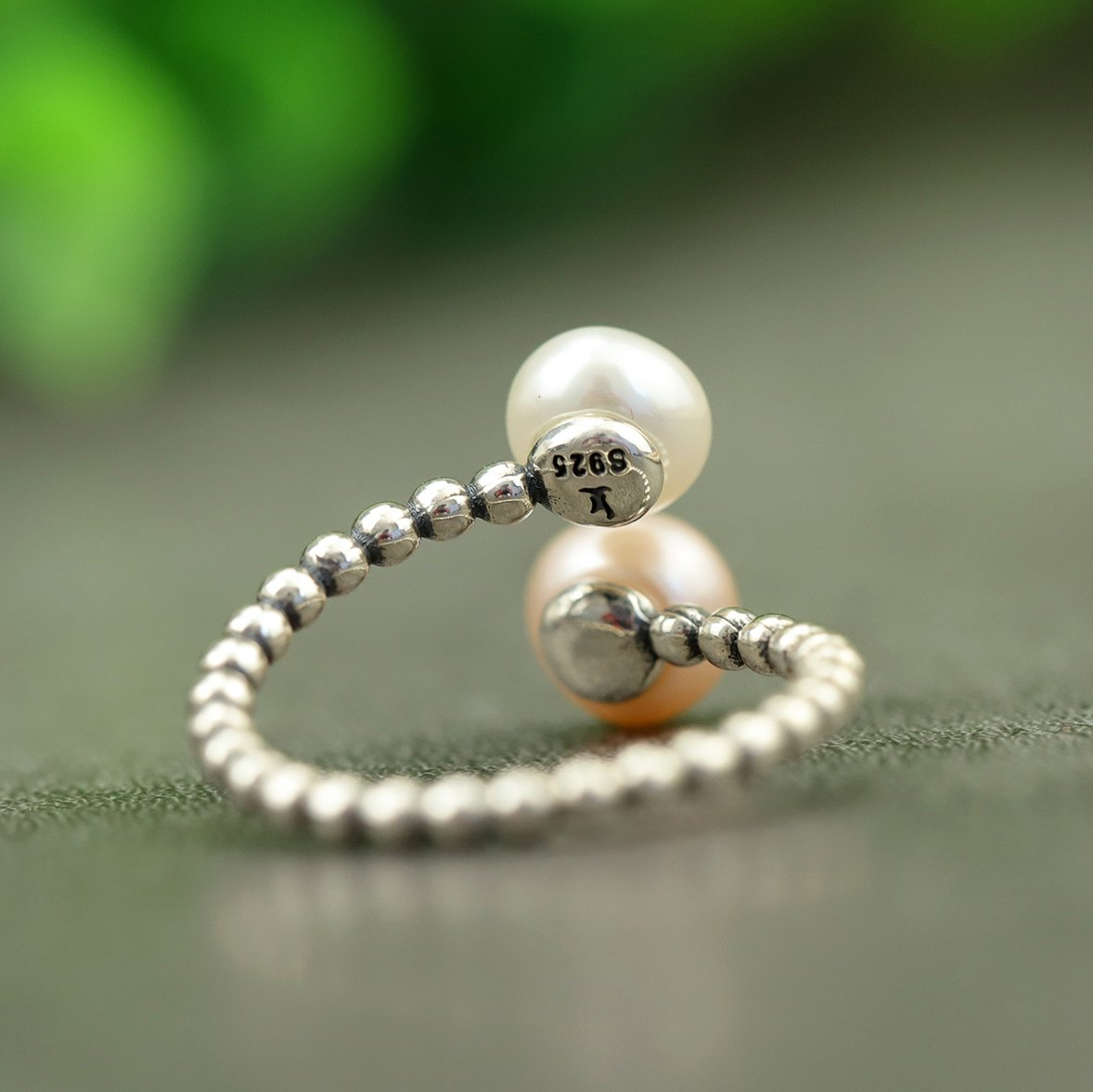 Double Pearls Silver Open Ring