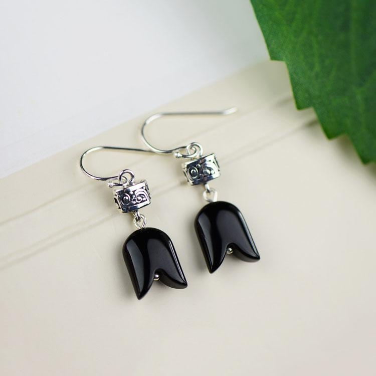 Creative Black Agate Drop Earrings