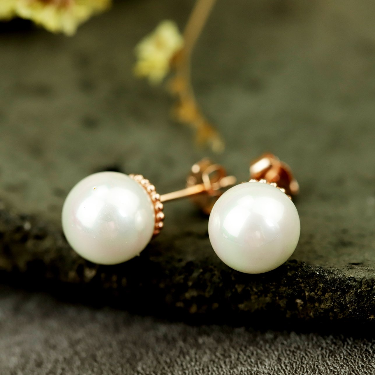Rose Gold Pearl Stud Earrings
