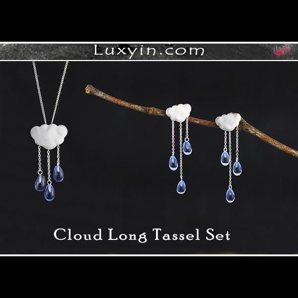 Cloud Long Tassel Jewelry Set with Drop Earring