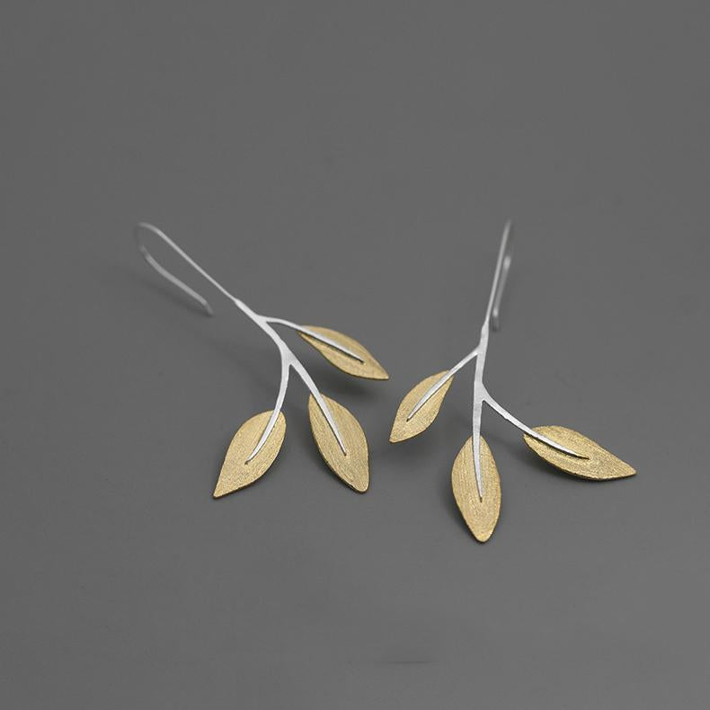 Natural Tree Leaves Drop Earrings