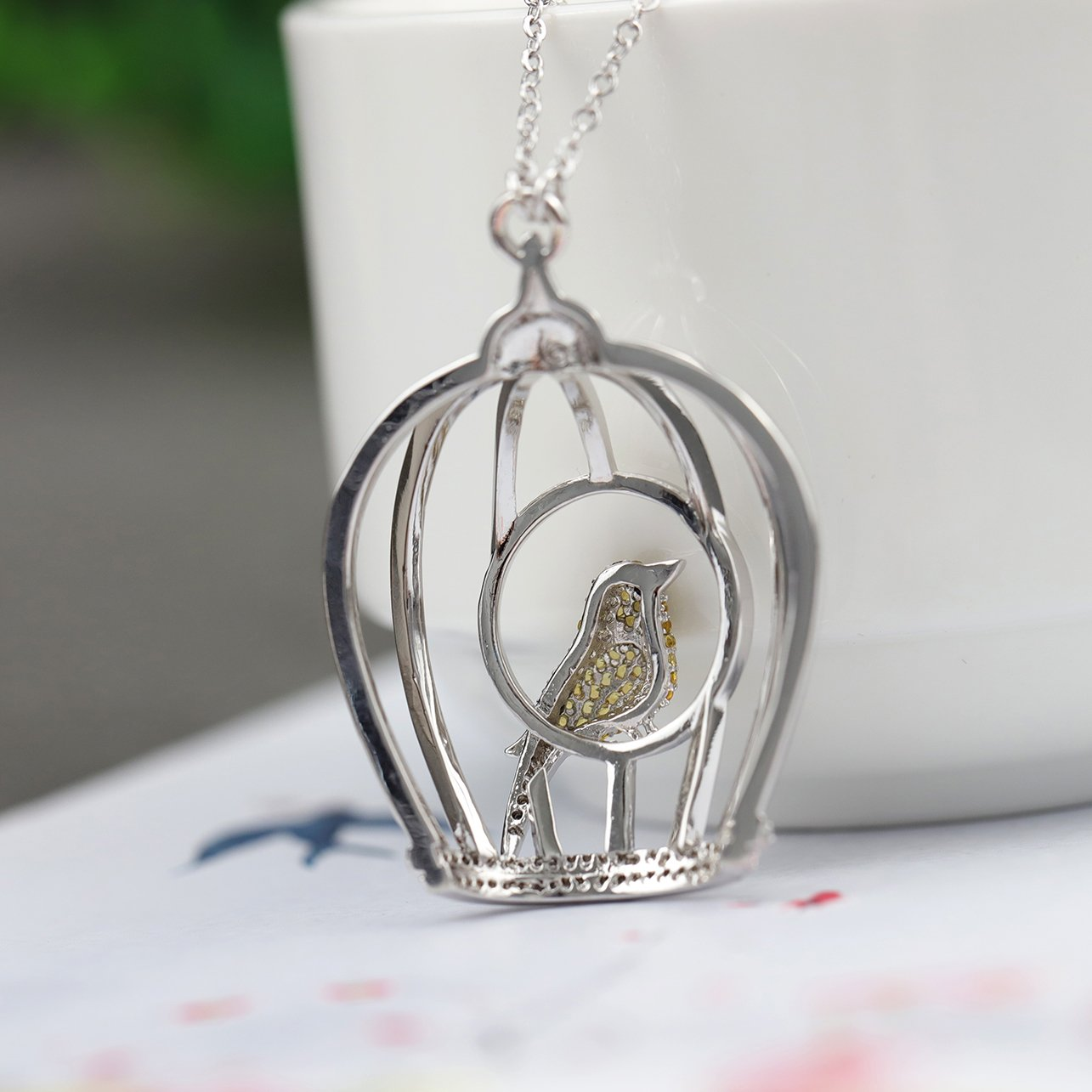 Gold Bird Leaves Necklace