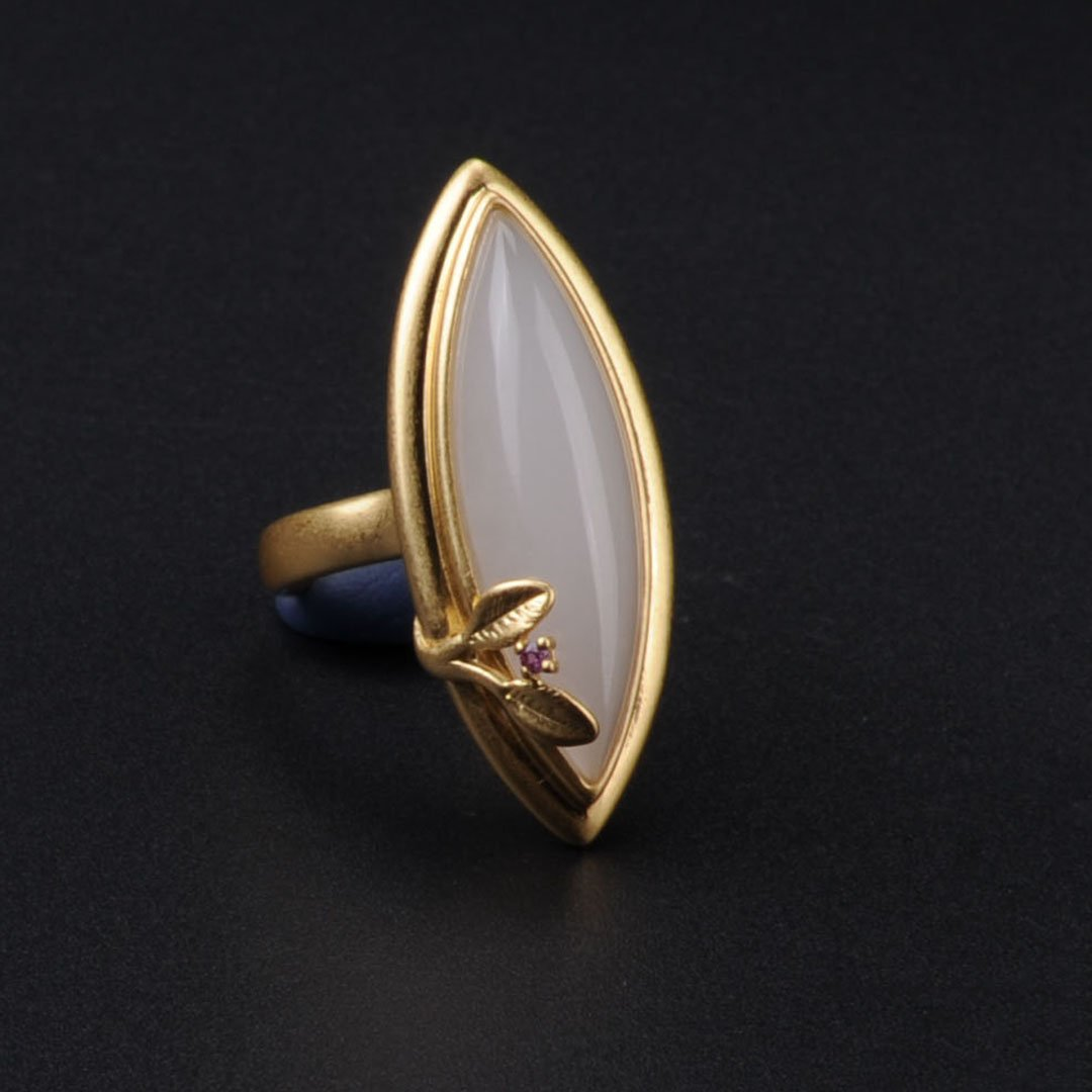 Handmade White Jade Open Ring
