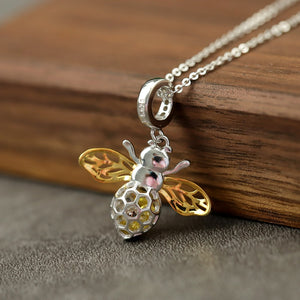 Lovely Honey Bee Silver Necklace
