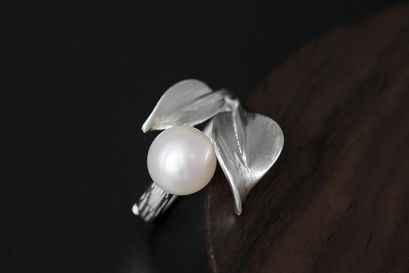 Natural Pearl Leaf Open Ring