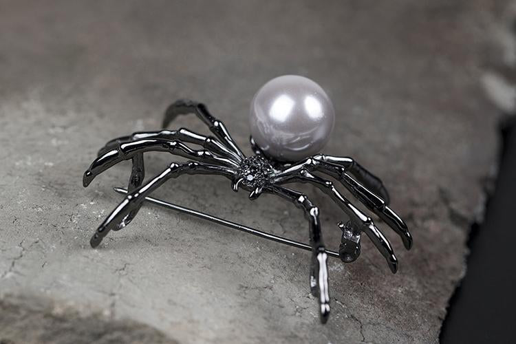 Unique Spider Pearl Cufflink and Brooch