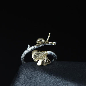 Cute Gingko Snail Open Ring