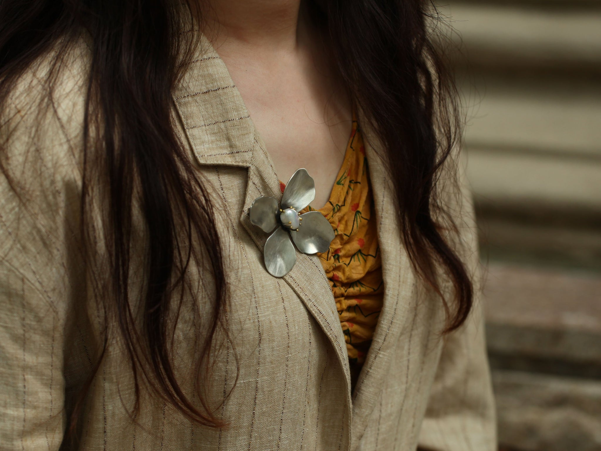 Vintage Flower Silver Necklace and Brooch