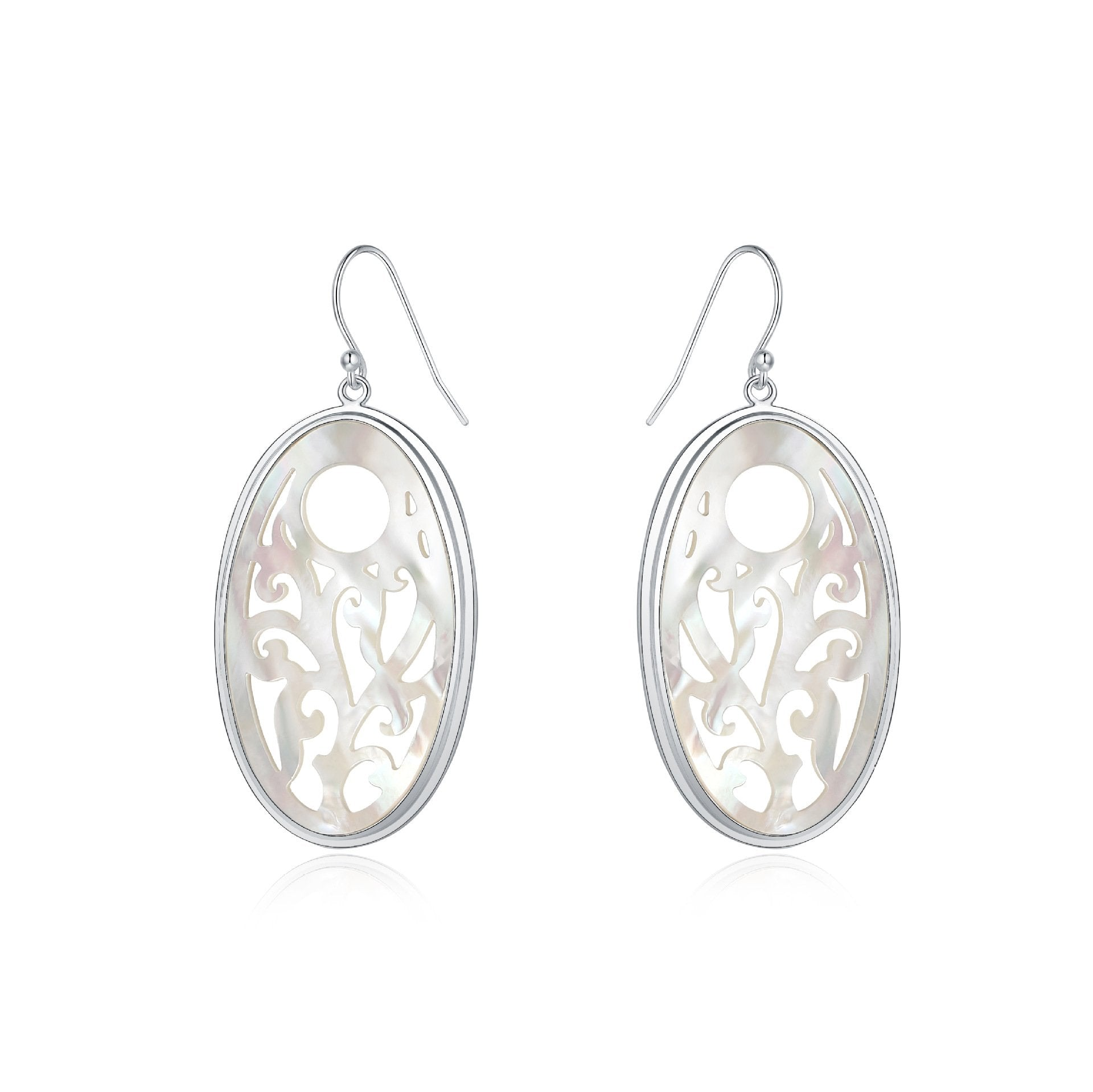 Delicate Oval Shell Drop Earrings