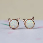 Funny Cat Rose Gold Stud Earrings