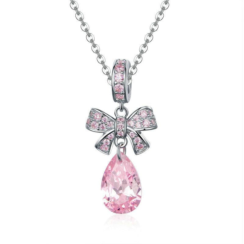 Shining Pink Bowknot Silver Necklace