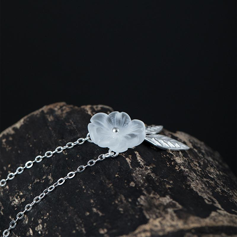 Natural Crystal Silver Necklace