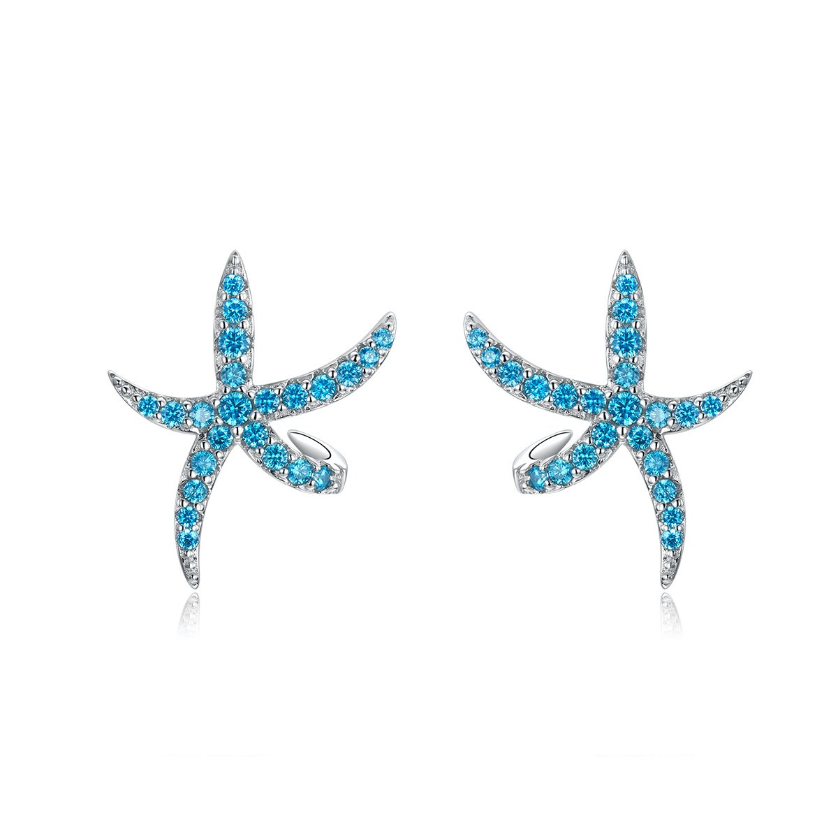Blue Starfish Silver Earrings