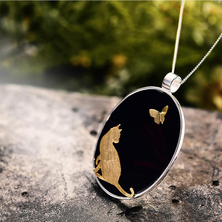 Lovely Cat Butterfly Necklace