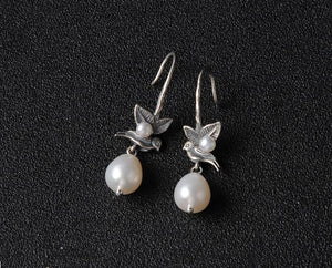 Unique Bird Pearl Drop Earrings