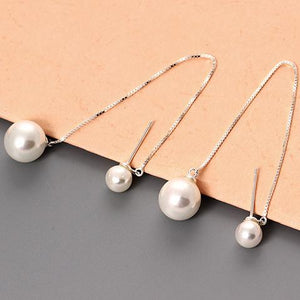 Silver Favorite Double Pearls Earrings