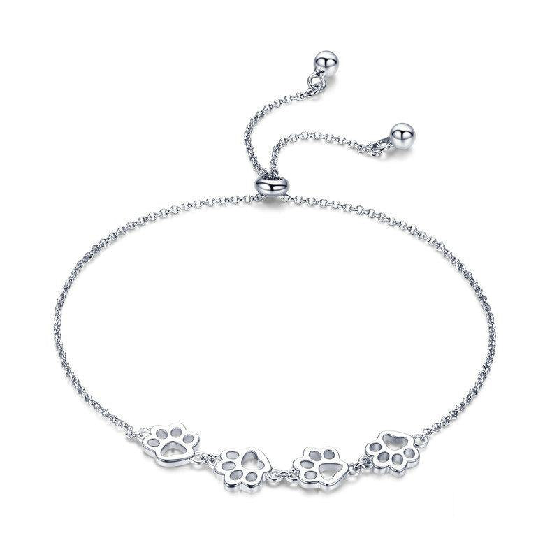 Lovely Cat Paws Silver Bracelet
