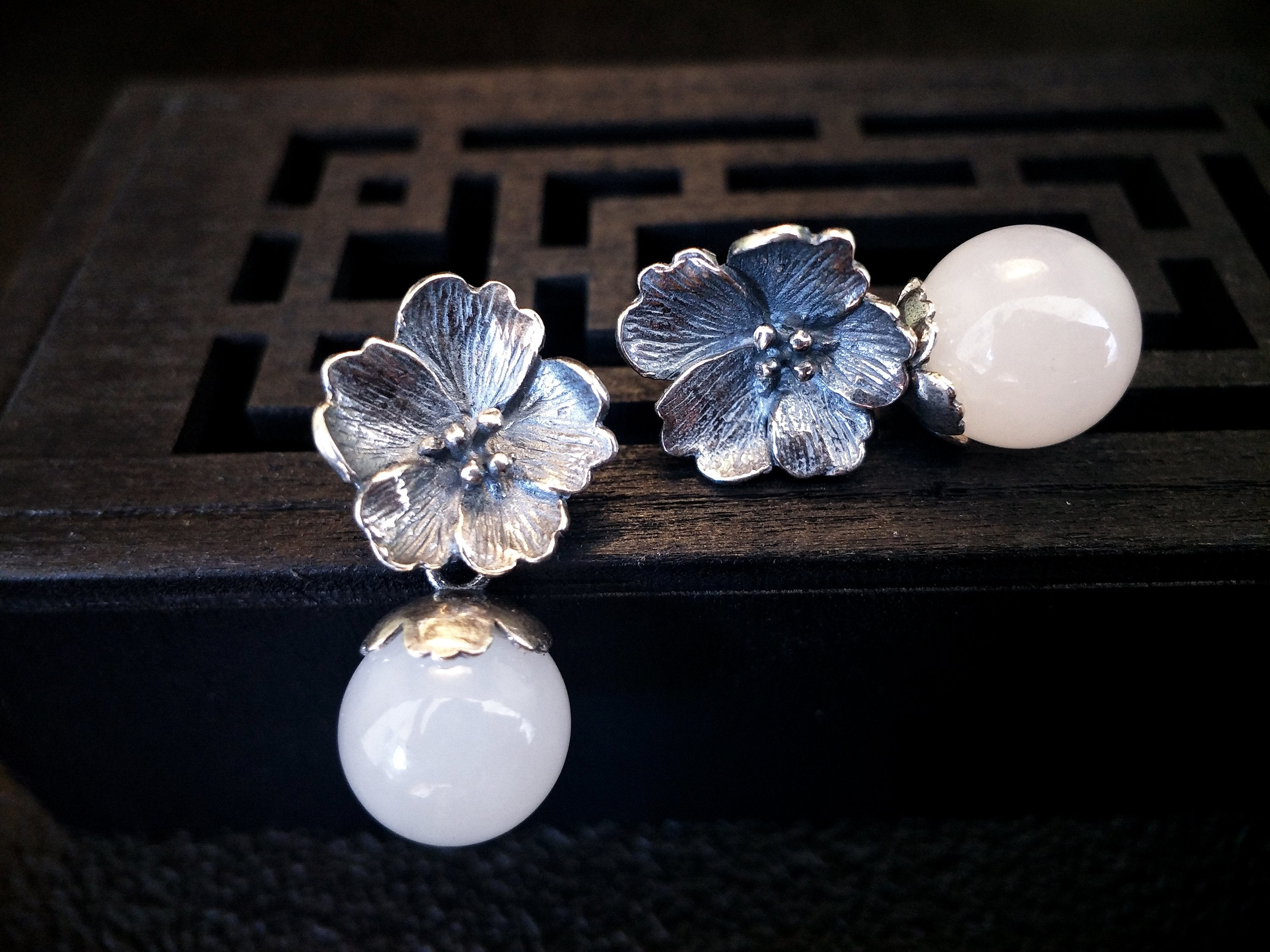 Pretty as You Jade Flower Earrings