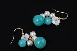 Silver Favorite Flower Pearl Earrings