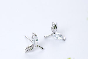 Natural Acorite Leaves Stud Earrings