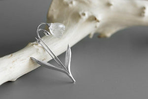 Pure White Crystal Silver Brooch