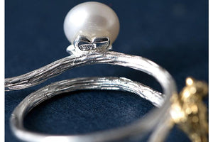 Silver Favorite Bird Pearl Open Ring