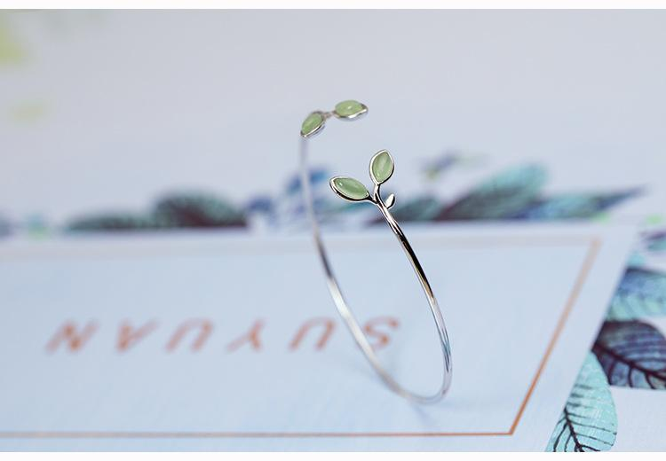 Silver Opal Leaves Buds Open Bracelet