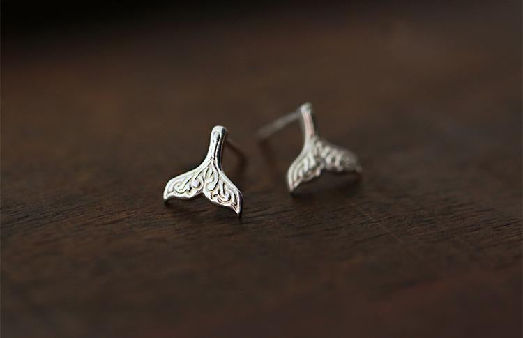 Sterling Silver Mermaid Tail Stud Earrings