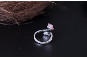 Sweet Flower Pearl Open Ring