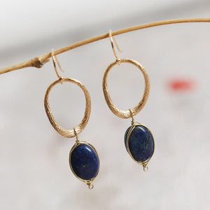 Pretty Lapis Lazuli Pearl Drop Earrings