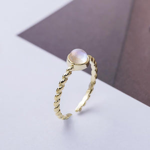 Delicate Moonstone Silver Ring