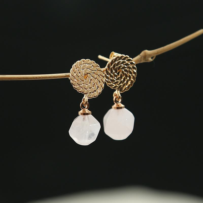 Classic Natural Stone Crystal Earrings