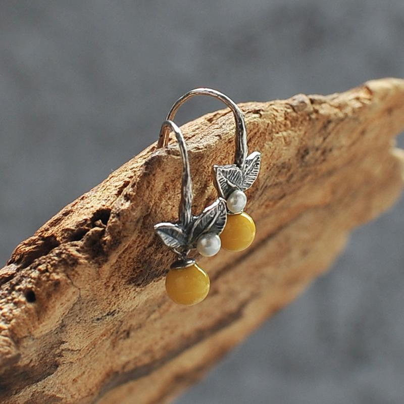 Natural Beeswax Leave Drop Earring