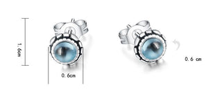 S925 Natural Blue Topaz With Flower Stud Earrings