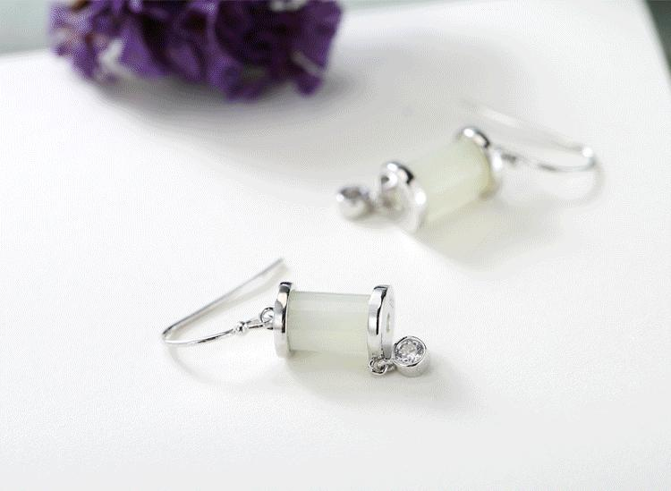 White Jade Drop Earrings
