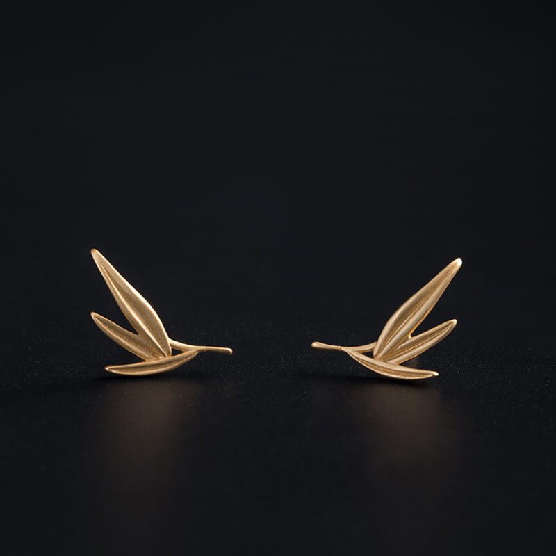 Gold Bamboo Leaves Stud Earrings