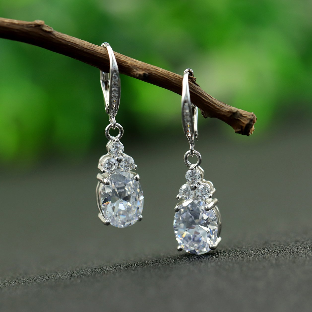 Stunning Diamond Silver Earrings