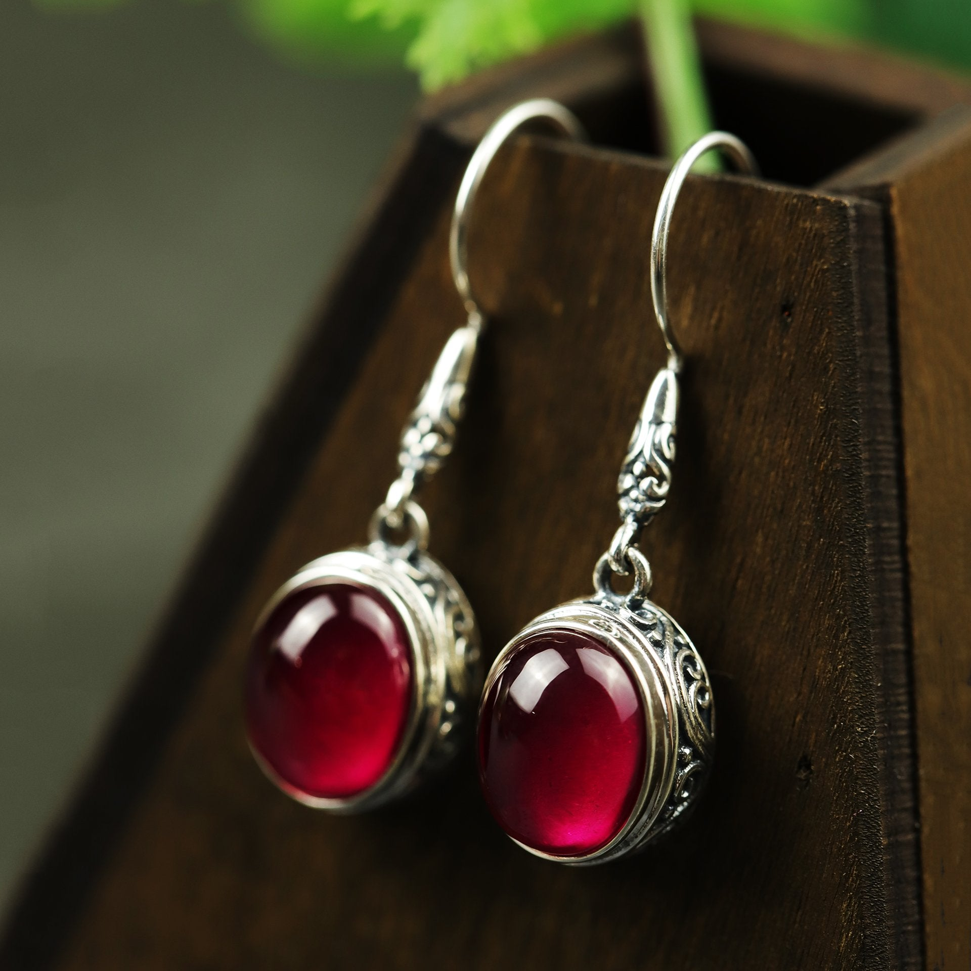 Vintage Red Corundum Drop Earrings