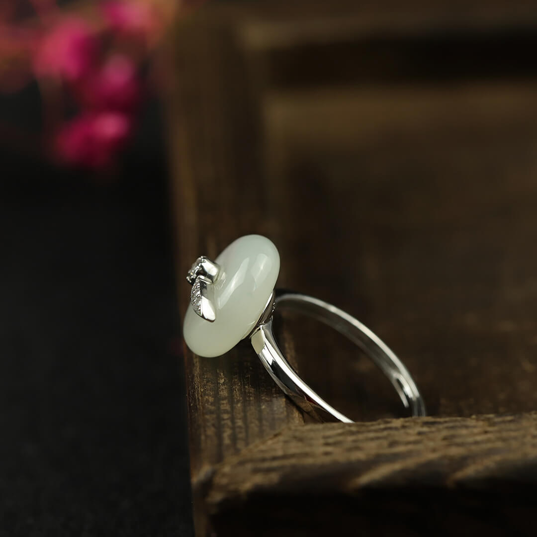 Natural White Jade Silver Open Rings