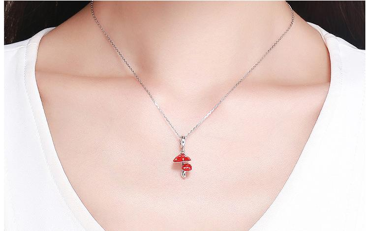 Sweet Mushroom Silver Necklace