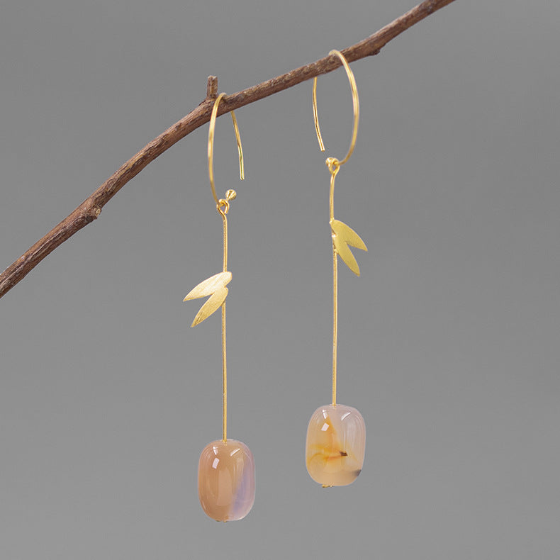 Natural Agate Bamboo Leaves Drop Earrings