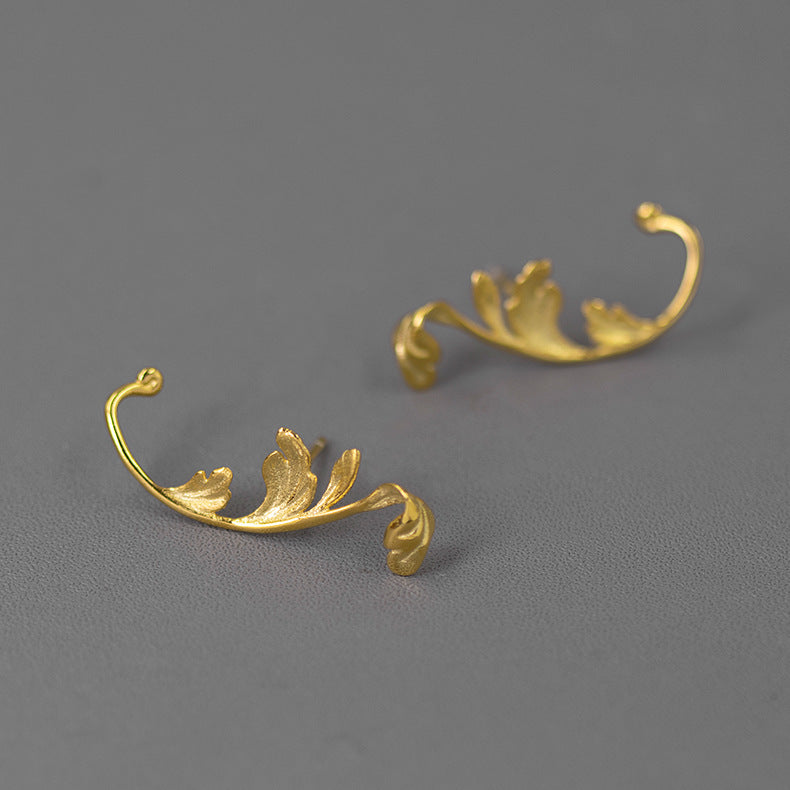 Acanthus Leaves Silver Stud Earrings