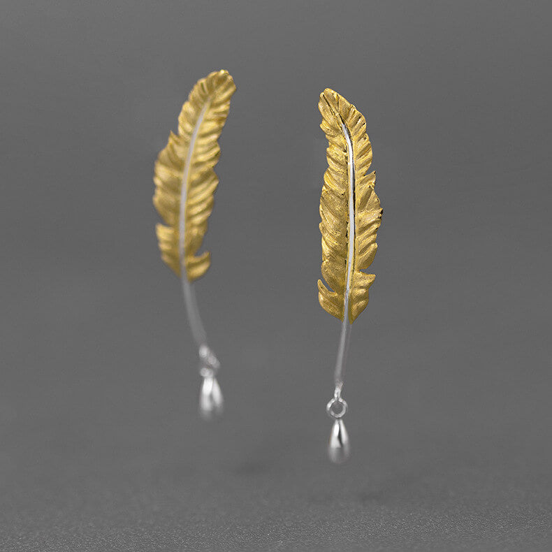 Handmade Goose Quill Silver Stud Earrings