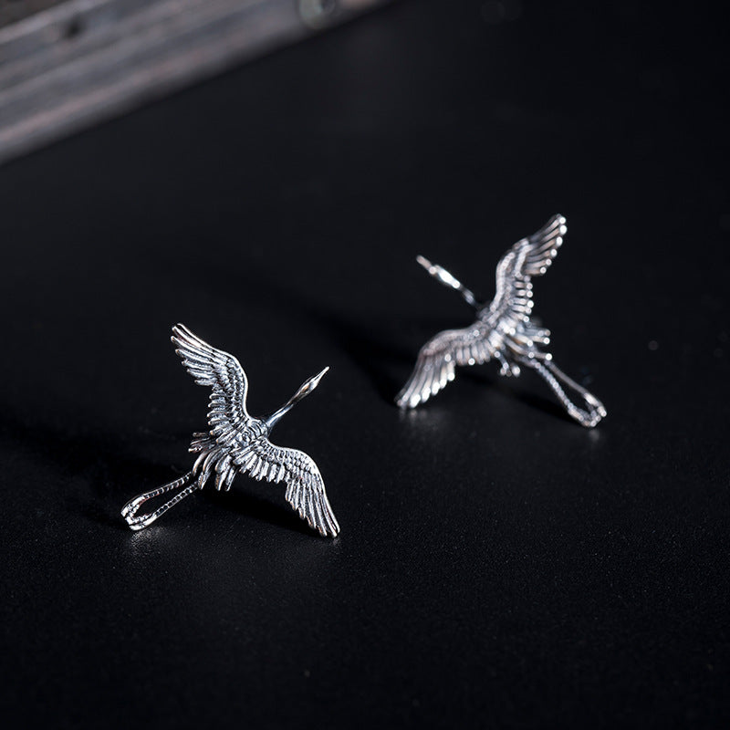 Flying Crane Silver Stud Earrings