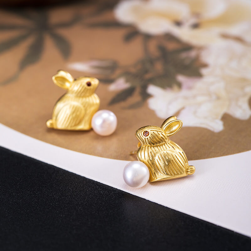 Rabbit Freshwater Pearl Silver Earrings