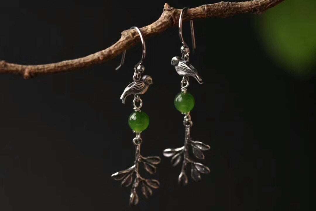 Vintage Bird Jade Earrings