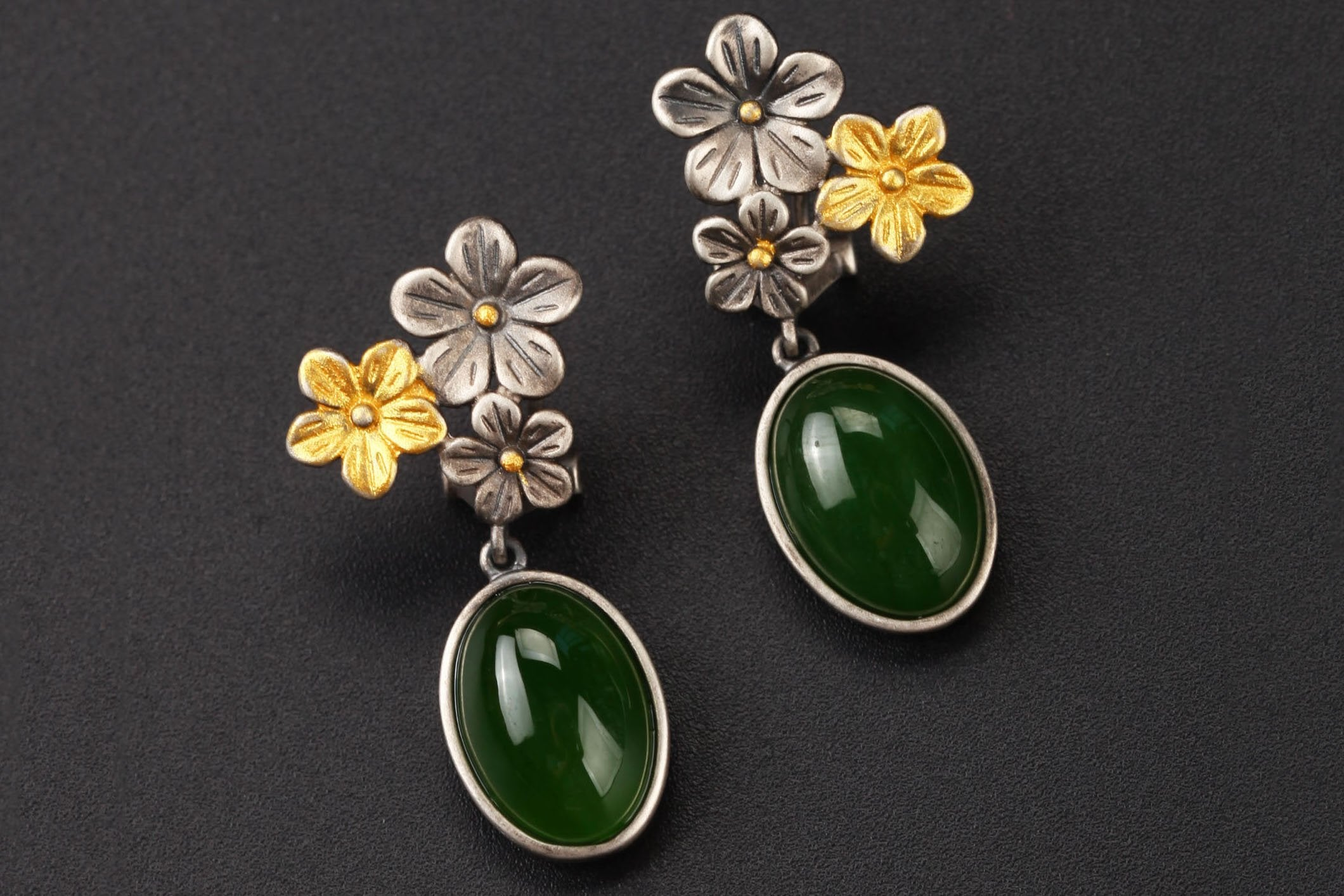 Vintage Flower Jade Earrings