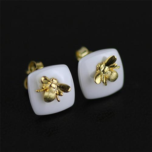 Bee Kiss from a Rose Stud Earrings