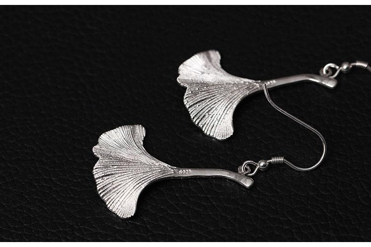 Silver Ginkgo Leaves Long Drop Earrings